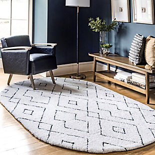 Nuloom Hand Tufted Diamond Lattice Shag 5' x 8' Area Rug, White, rollover