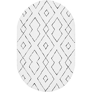 Nuloom Hand Tufted Diamond Lattice Shag 5' x 8' Area Rug, White, large