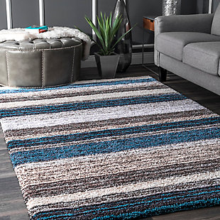 Nuloom Hand Tufted Classie Shag 5' x 8' Area Rug, Blue Multi, rollover