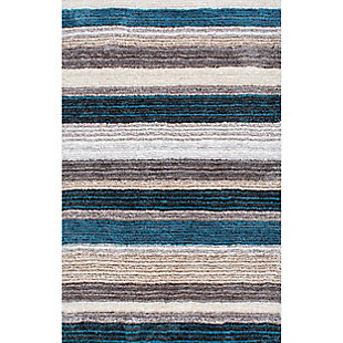 Nuloom Hand Tufted Classie Shag 5' x 8' Area Rug, Blue Multi, large