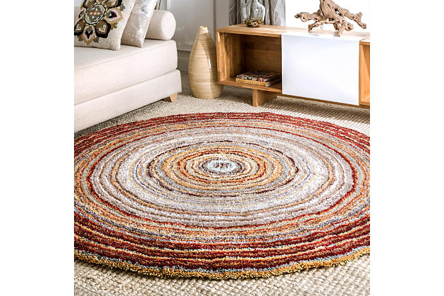 Nuloom Hand Tufted Classie Shag 6' Round Rug, Red Multi, large