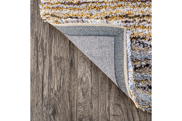 Nuloom Striped Shaggy 4' x 6' Area Rug, Teal, large