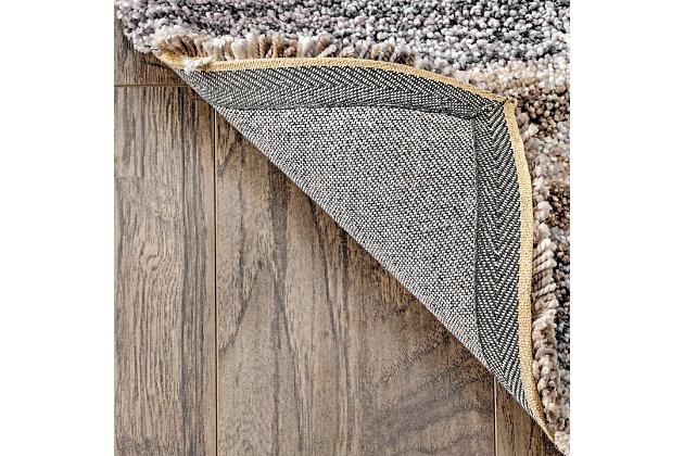 Nuloom Striped Shaggy 4' x 6' Area Rug, Beige, large