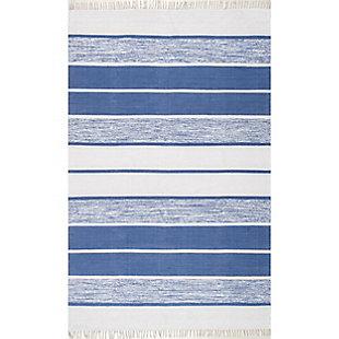 Nuloom Hand Woven Darla Tassel 5' x 8' Area Rug, Blue, large