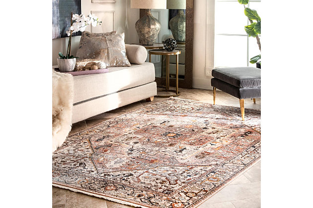 "Nuloom Ehtel Medallion Fringe 6' 7"" x 9' 4"" Area Rug, Light Brown, large"