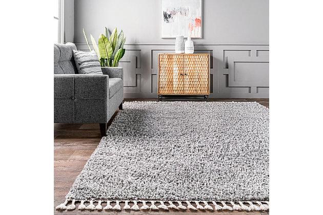 "Nuloom Casual Plush Shag 6' 7"" x 9' Area Rug, Gray, large"