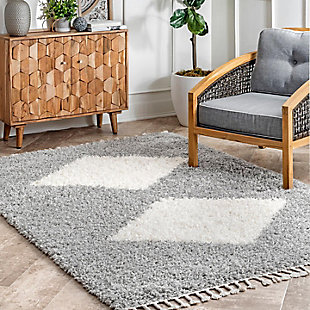 "Nuloom Eliana Simply Diamonds Shag 5' 3"" x 7' 7"" Area Rug, Gray, rollover"
