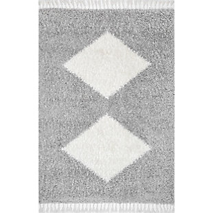 "Nuloom Eliana Simply Diamonds Shag 5' 3"" x 7' 7"" Area Rug, Gray, large"