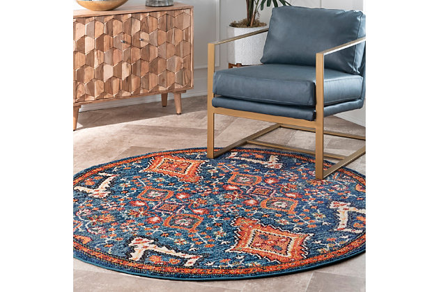 "Nuloom Diamond Elayne 5' 3"" Round Rug, Multi, large"