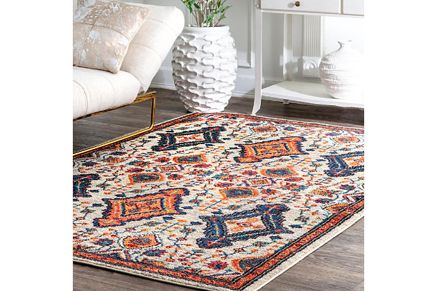 "Nuloom Diamond Elayne 6' 7"" x 9' Area Rug, Orange, large"