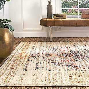 "Nuloom Distressed Persian Sarita 6' 7"" x 9' Area Rug, Sand, large"