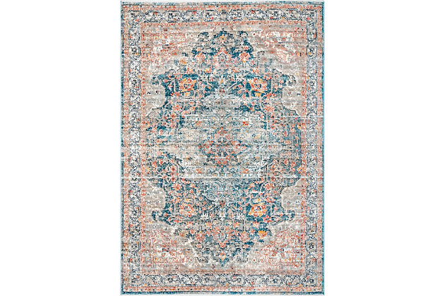 "Nuloom Georgia Impassioned Medallion 5' 3"" x 7' 3"" Area Rug, Blue, large"