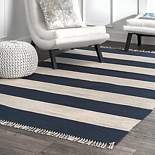 Nuloom Ashlee Striped Flatweave 5' x 8' Area Rug, Navy, rollover