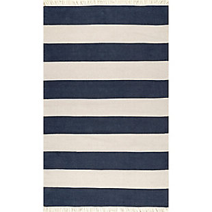 Nuloom Ashlee Striped Flatweave 5' x 8' Area Rug, Navy, large