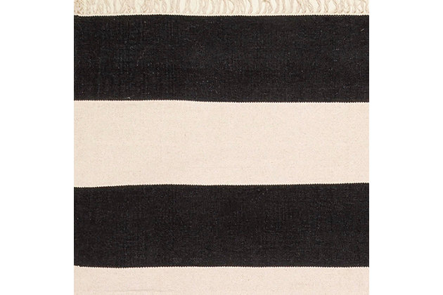 "Nuloom Ashlee Striped Flatweave 7' 6"" x 9' 6"" Area Rug, Black, large"