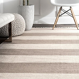 Nuloom Ashlee Striped Flatweave 5' x 8' Area Rug, Beige, large