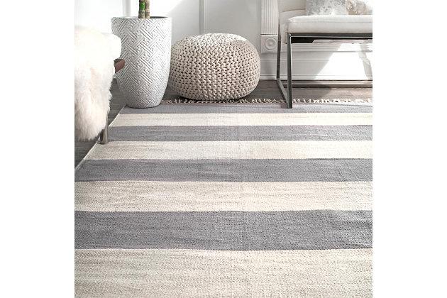 Nuloom Ashlee Striped Flatweave 5' x 8' Area Rug, Gray, large
