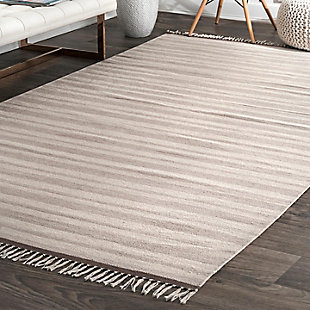Nuloom Tiffany Striped Flatweave 5' x 8' Area Rug, Beige, rollover