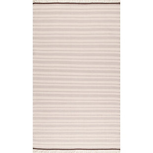 Nuloom Tiffany Striped Flatweave 5' x 8' Area Rug, Beige, large