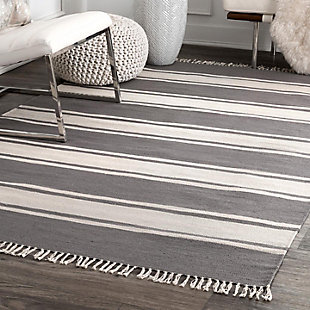 Nuloom Allie Striped Flatweave 5' x 8' Area Rug, Dark Gray, rollover