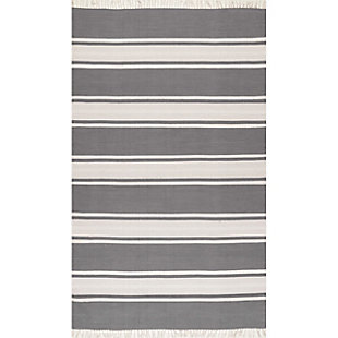 Nuloom Allie Striped Flatweave 5' x 8' Area Rug, Dark Gray, large
