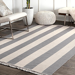 Nuloom Erika Striped Flatweave 5' x 8' Area Rug, Gray, rollover
