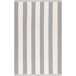 Nuloom Erika Striped Flatweave 5' x 8' Area Rug, Gray, large