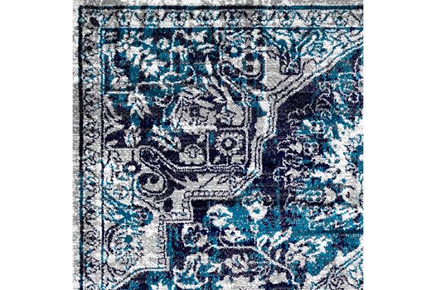 "Nuloom Maryanne Transitional Medallion 6' 7"" x 9' Area Rug, Blue, large"