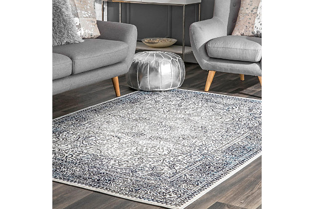 Nuloom Transitional Persian Wreath 5' x 8' Area Rug, Blue, large