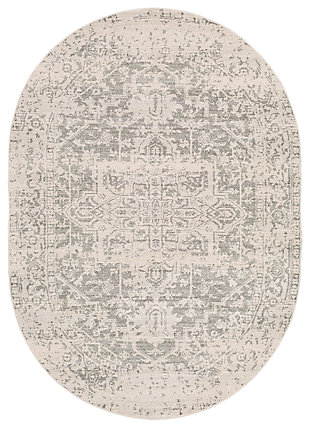 "Home Accents Harput 6' 7"" x 9' Oval Area Rug, Gray, large"