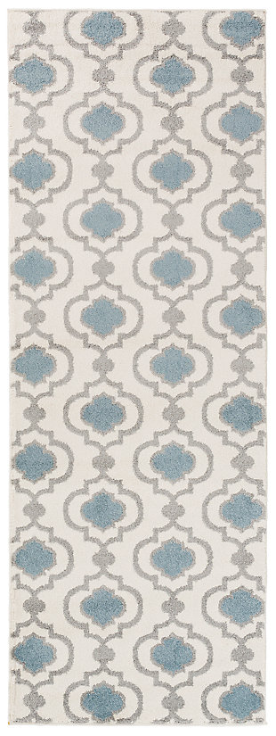 "Home Accents Horizon 2' 7"" x 7' 3"" Runner, Blue, large"