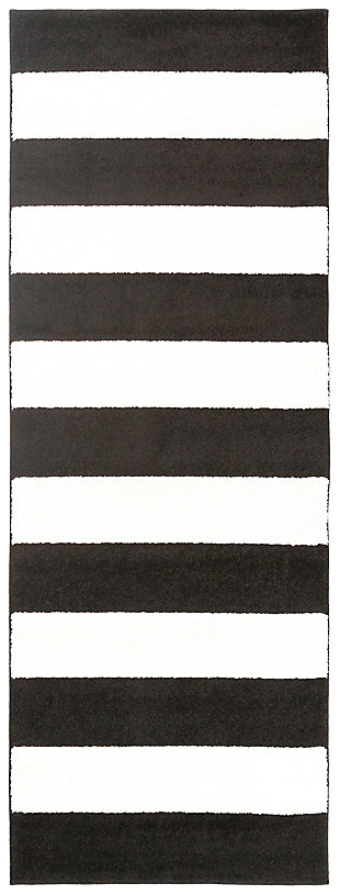 "Home Accents Horizon 2' 7"" x 7' 3"" Runner, Black/White, large"