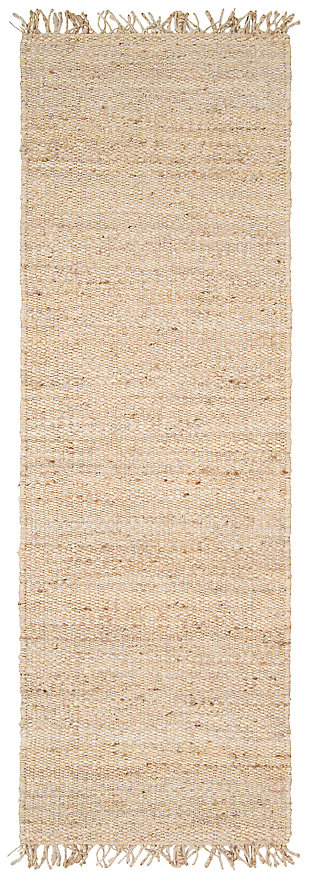 "Home Accents Jute Bleached 2' 6"" x 7' 6"" Runner, Cream, large"
