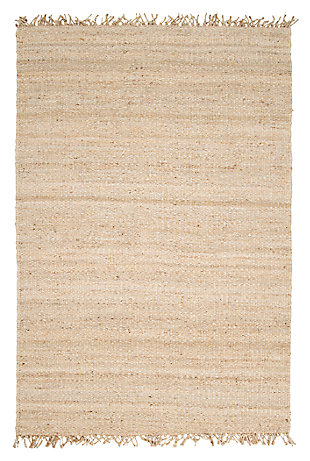 "Home Accents Jute Bleached 5' x 7' 6"" Area Rug, Cream, large"
