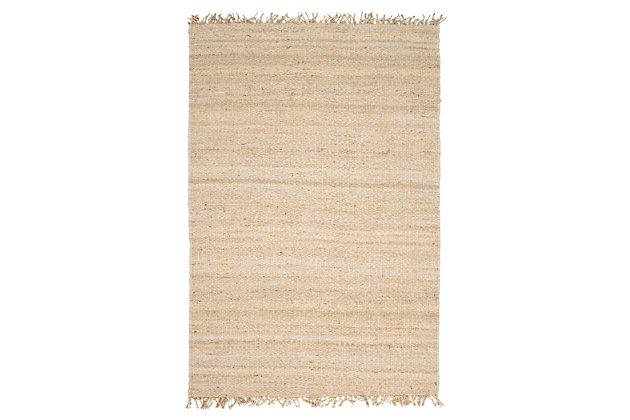 Home Accents Jute Bleached 4' x 6' Area Rug, Cream, large
