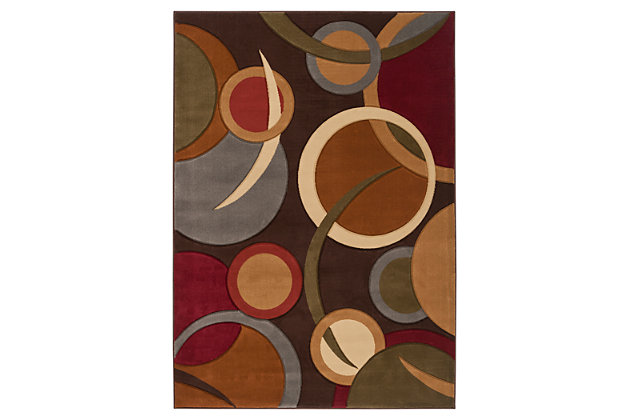 "Home Accents Majestic 5' 3"" x 7' 3"" Area Rug, Brown, large"
