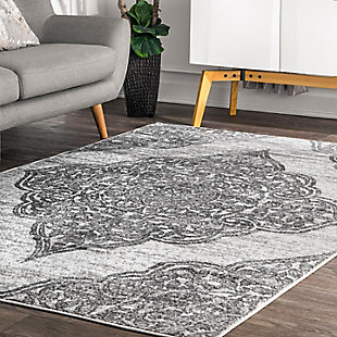 Nuloom Transitional Floral Jeannette 5' x 8' Area Rug, Gray, rollover