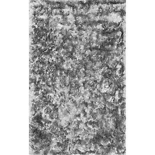 Nuloom Hand Woven Latonia Silken Shaggy 5' x 8' Area Rug, Silver, large