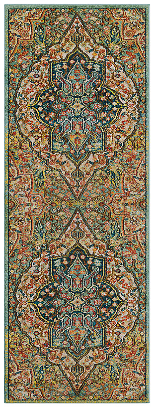 "Home Accents Masala Market 2' 7"" x 7' 3"" Runner, Green, large"