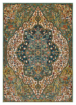 "Home Accents Masala Market 5' 3"" x 7' 3"" Area Rug, Green, large"