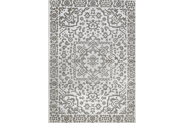 Nuloom Castle Medallion Indoor/Outdoor 5' x 8' Area Rug, Gray, large