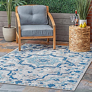 Nuloom Castle Medallion Indoor/Outdoor 5' x 8' Area Rug, Blue, rollover