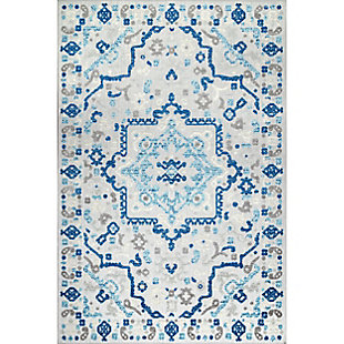Nuloom Castle Medallion Indoor/Outdoor 5' x 8' Area Rug, Blue, large
