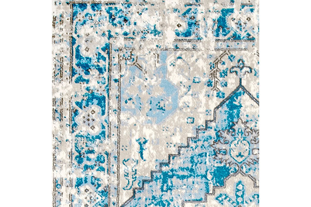 """Nuloom Sutton Barbed Medallion 6' 7"""" x 9' Area Rug, Light Blue, large"""