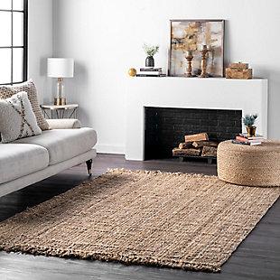"Nuloom Hand Woven Chunky Loop Jute 5' x 7' 6"" Area Rug, Natural, rollover"