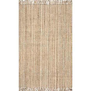 "Nuloom Hand Woven Chunky Loop Jute 5' x 7' 6"" Area Rug, Natural, large"