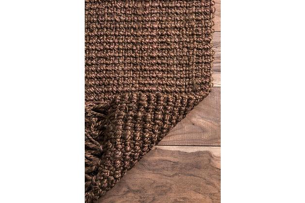 "Nuloom Hand Woven Chunky Loop Jute 5' x 7' 6"" Area Rug, Chocolate, large"