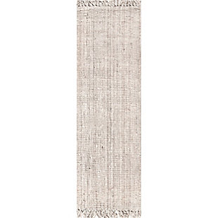 "Nuloom Hand Woven Chunky Loop Jute 2' 6"" x 10' Runner Rug, Off White, large"