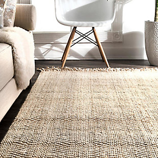 Nuloom Hand Woven Don Frige Jute5' x 8' Area Rug, Natural, large