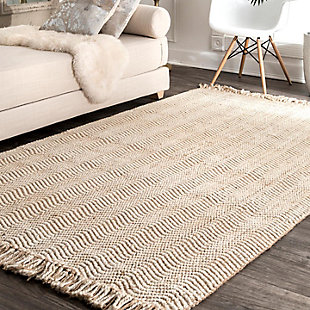 "Nuloom Hand Woven Don Frige Jute7' 6"" x 9' 6"" Area Rug, Natural, rollover"